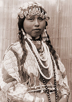 A Wishram woman in festive bridal raiment, 1911.