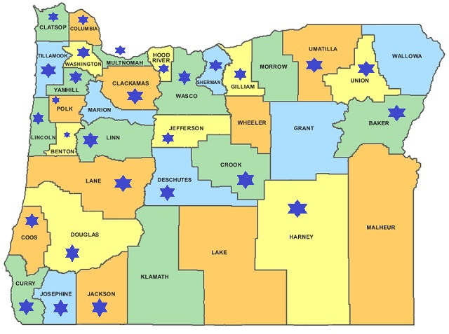 State Of Oregon County Map Tidal Treasures - State of oregon map